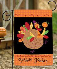 Toland Turkey Pilgrim 12.5 x 18 Thanksgiving Gobble Colorful Autumn Garden Flag