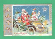 1908 CHRISTMAS LINEN POSTCARD SANTA CLAUS CAR GIRL GIFTS STAR SNOW PINE CONES