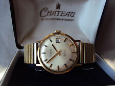 Vintage Mens Chateau 9ct Gold Wristwatch 25 Jewels Automatic Boxed.
