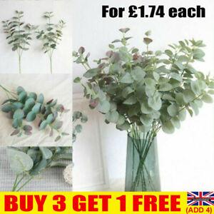 Artificial Eucalyptus Fake Leaf Green Plant Silk Flowers Indoor Home Decor UK