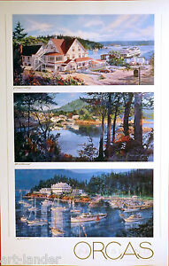 Signed ORCAS ISLAND Hotel Ferry Eastsound Rosario Poster Print MARSHALL JOHNSON