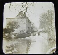 Glass Magic lantern slide LAKE GRAVE DONA C1910 ITALY A WATERMILL