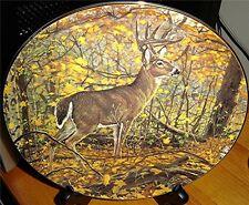 Woodland Royalty Golden Sentinel Bruce Miller Buck Deer Danbury Mint Fall Plate