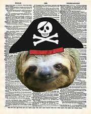 Pirate Sloth Art Print 8 x 10 - Dictionary Page - Pirate Animal Nautical Kitsch