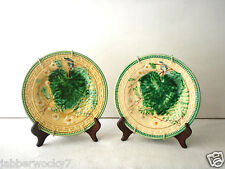 Vintage Antique Gilded Age  Salad Plates C Lot of 2 - Yellow Green Leaf