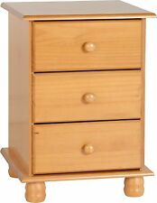 Sol 3 Drawer Bedside Chest  Solid Antique Pine  Free Delivery
