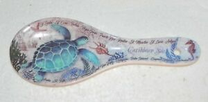 Porcelain Spoon Rest Turtle / Caribbean Sea / Seahorse / Islands Print 9""