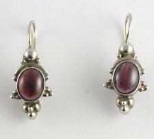 Victorian Cabochon Garnet Earrings 10k White Gold