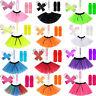 NEW KIDS ADULTS NEON UV 1980s GIRLS FANCY DRESS HEN PARTY TUTU COMPLETE SET 8-16