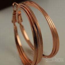 18ct 18K Rose Gold Filled Pattern Triple Hoop Earrings 40mm UK New -191