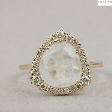 1.65 Ct. Blue Moonstone Gemstone Cocktail Ring Diamond 14k Yellow Gold Jewelry