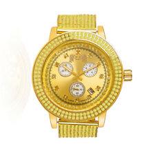 Canary Gold Tone Real Diamond Jojino/Jojo/Joe Rodeo Custom Bezel Band Mens Watch