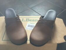 LL Bean Women's Brown Leather Clogs Mules NIB Crossed Straps Size 42 US 9-91/2