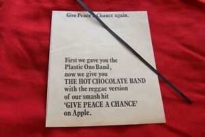THE HOT CHOCOLATE BAND APPLE RECORDS 1969 ORIGINAL VINTAGE ADVERT