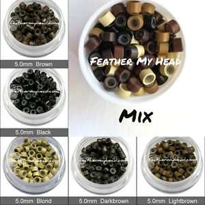 50 Silicone Micro Links / Tubes / Shrinkies / Feather Hair Extenisons Beads