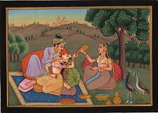 Mughal Miniature Painting Exotic Outdoor Harem Handmade Moghul Watercolor Art