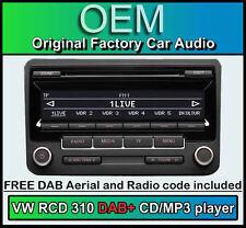 VW RCD 310 DAB+ radio, VW Scirocco DAB+ CD player, digital radio & stereo code