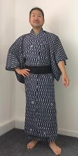 Authentic Japanese navy blue cotton summer yukata for men, large, good c.(K1563)