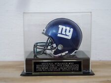 Football Mini Helmet Display Case With A Michael Strahan Giants Nameplate