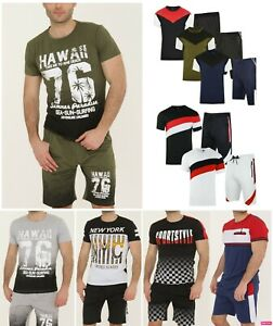 Mens Tracksuit Crew Neck T shirt and Shorts Set Cotton Logo Top fitted Xmas Gift