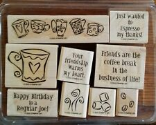 Stampin' Up ESPRESS YOURSELF Set 9 Rubber Stamps Lot Friendship Birthday Coffee