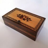 Tunbridge Ware Hinged Tissue/Trinket Box Rosewood and Wood Mosaic Mid-Victorian