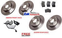 VW GOLF MK6 1.2 1.4 1.6 (2009-2012)  FRONT & REAR BRAKE DISCS AND PADS SET 280MM