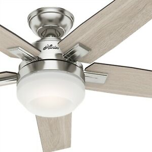 Hunter Fan 52 in Contemporary Brushed Nickel Ceiling Fan w Light and Remote