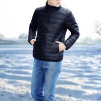 Men Lightweight Winter Solid Color Short Puffer Coat 90% White Duck Down Jackets