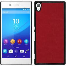Hardcase for Sony Xperia Z3+ / Plus leather optics red Cover + protective foils