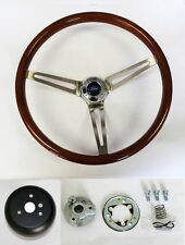 "Bronco F100 F150 F250 F350 Wood Steering Wheel High Gloss Grip 15"" Ford Cap"