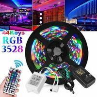 5M/16Ft 3528 RGB SMD 300LEDs Light Strip Full Kits + 44Key Remote + DC 12V Power