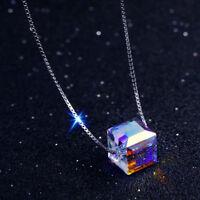 Frauen Aurora Silber Kette Bunte Quadrat Stein Kristall Anhänger Halskette NEU