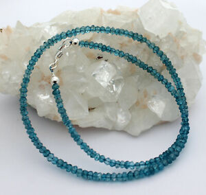 Classy Blue Topaz Necklace Precious Stone London Topaz 46 CM Long
