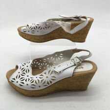 Spring Step Womens Wedge Slingback Sandal White Cut Out Buckle Leather 8.5 EU 39