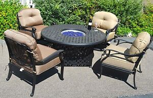 Fire Pit Table Set Elisabeth Propane 5pc Patio Furniture Outdoor Dining Aluminum
