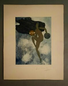 Beautiful 1920s Art Deco Etching Nude Dancer w Cymbals Pencil Signed Unframed