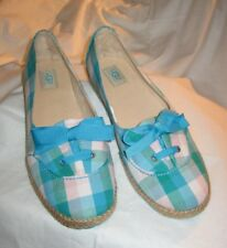 UGGs Girls/Ladies Eyelet Blue & White Plaid Slip On FLATS ESPADRILLES Shoes SZ 5