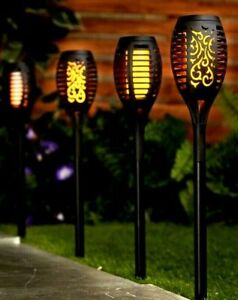 Pack of 4 Solar Flame Effect Torch Stake Lights  Garden Ornament