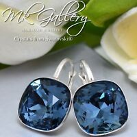 925 SILVER EARRINGS CRYSTALS FROM SWAROVSKI® 10/12MM FANCY STONE - DENIM BLUE