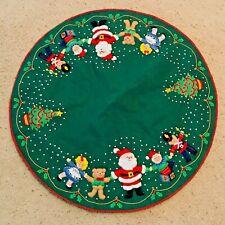 Vintage Bucilla Christmas tree skirt Santa Friends bears 1990 green COMPLETED