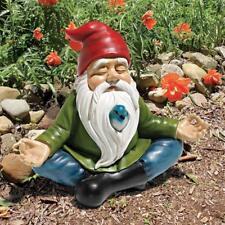 Gnome & Bird Yoga Statue Zen Peace Sculpture Porch Patio Pool Deck Balcony Art