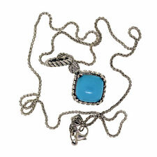 Yurman Sterling Silver 11mm Turquoise Diamond Cushion On Point Box Necklace