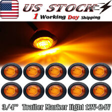 "10X Mini 3/4"" Bullet Marker Side 3 LED Light For RV Ford F150 F250 F350 Amber"