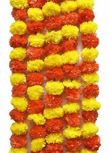 Artificial Genda Phool Toran Garlands Fluffy Flower For Home Diwali Decoration