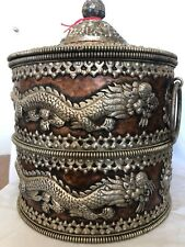 """Antique round hand made copper box 13""""X10"""" depth 7.5"""" with silver"""