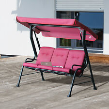 Outsunny Outdoor 3-person Metal Porch Swing Chair w/ Canopy for Garden Wine Red