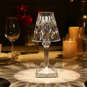 Crystal Table Bedside Lamp Dimmable Desk Decor Romantic Night Light USB Control