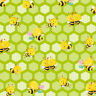 Stof Busy Bees (4704-405), Green Quilting Fabric, Per 1/4 Metre