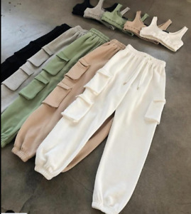 Womens Ladies 2 Piece Crop Top and Cargo Joggers Co-Ord Set Winter Fashion New